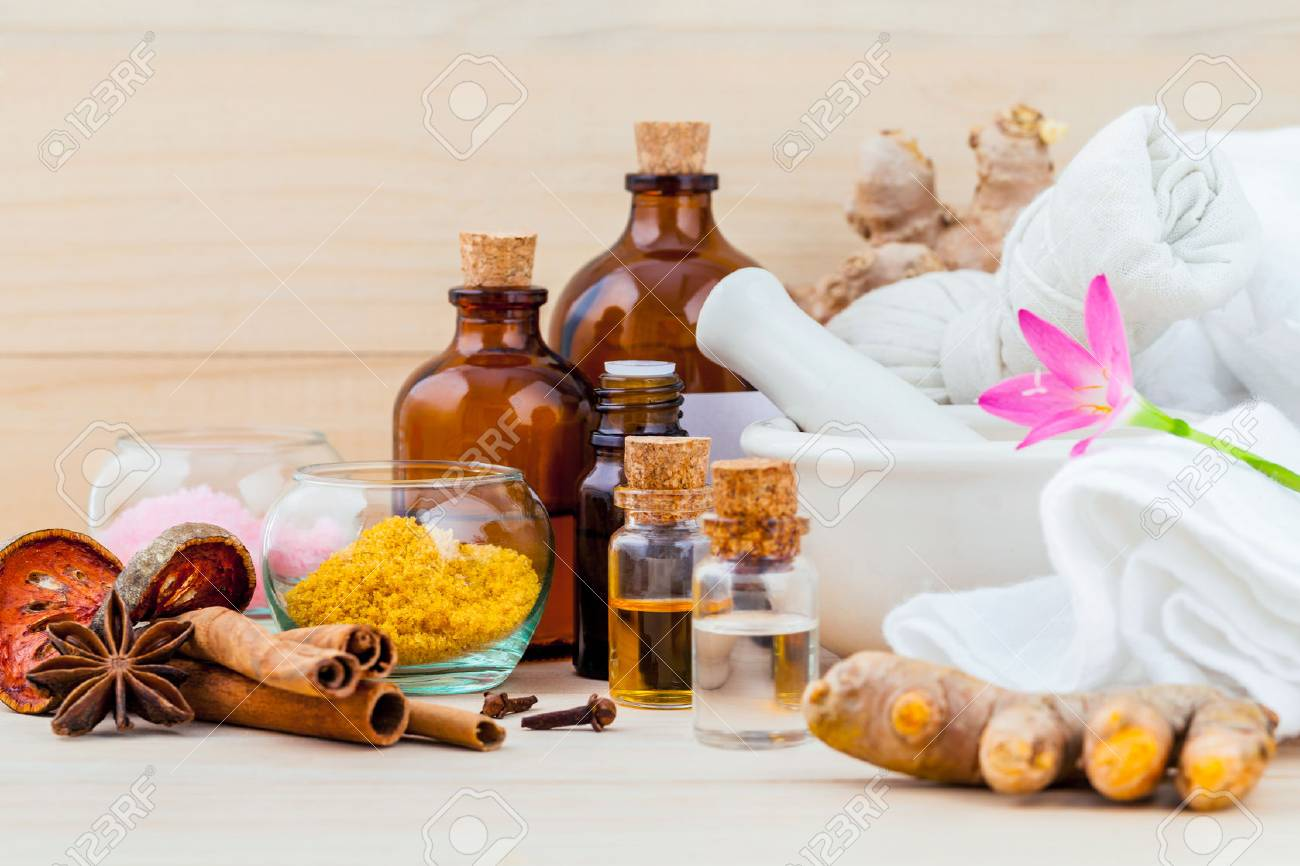 Natural spa ingredients aromatherapy and natural spa theme on wooden background. - 59056298