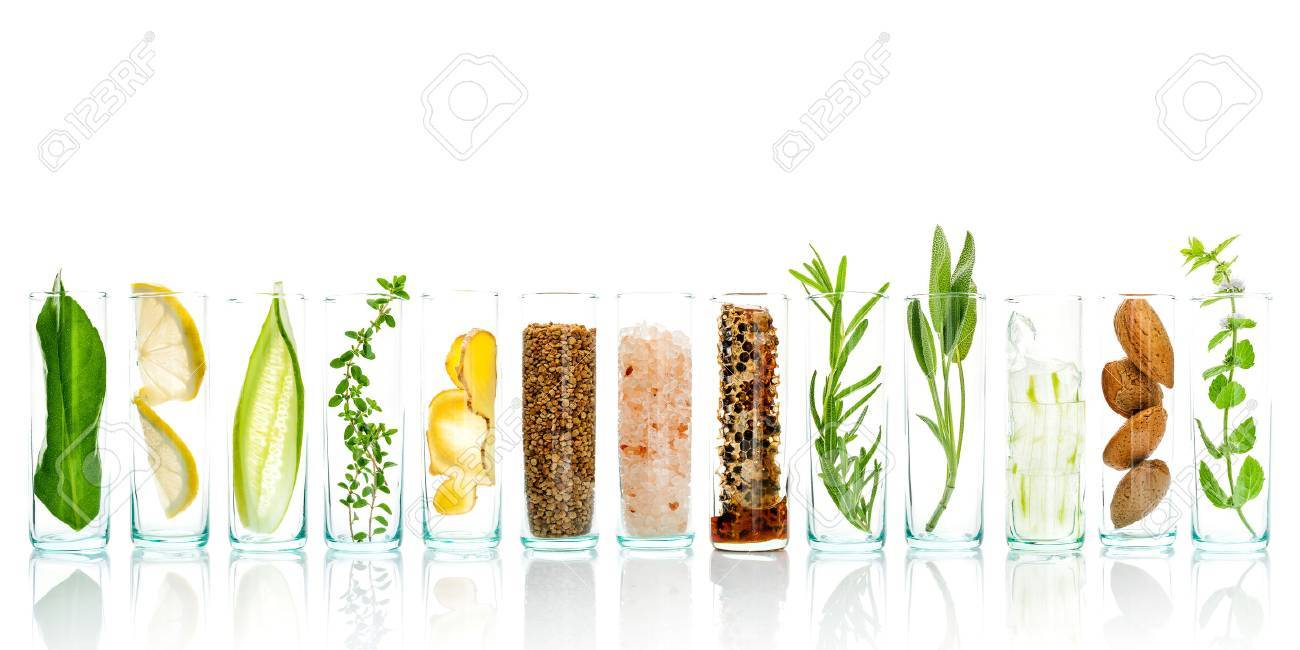 Homemade skin care and body scrubs with natural ingredients aloe vera ,lemon,cucumber ,himalayan salt ,peppermint ,lemon slice,rosemary,almonds,cucumber,ginger and honey pollen isolate on white background. - 65511688
