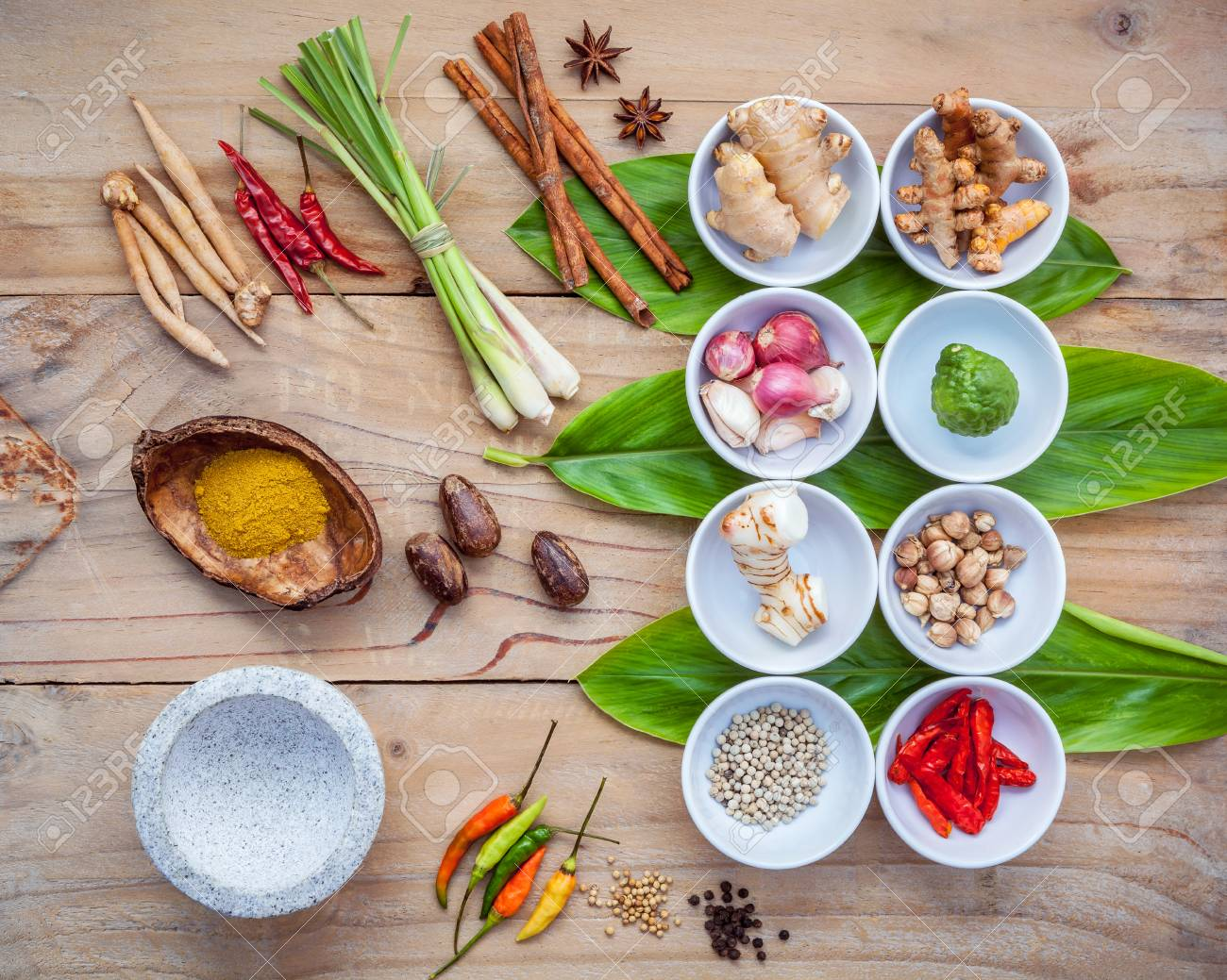 Various of thai food cooking ingredients for spice red curry stock stock photo various of thai food cooking ingredients for spice red curry paste ingredient of thai popular food on galanga leaf background forumfinder Image collections