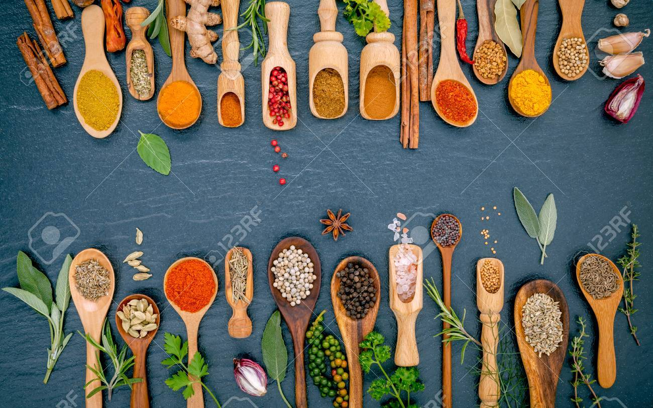 Various Of Spices And Herbs In Wooden Spoons. Flat Lay Of Spices ...
