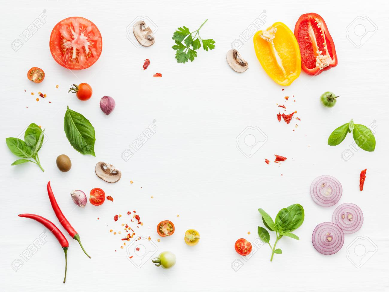 The ingredients for homemade pizza on white wooden background. - 108911799