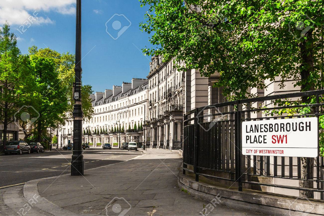 Traditional town houses at Belgravia district in London, England - 59836014