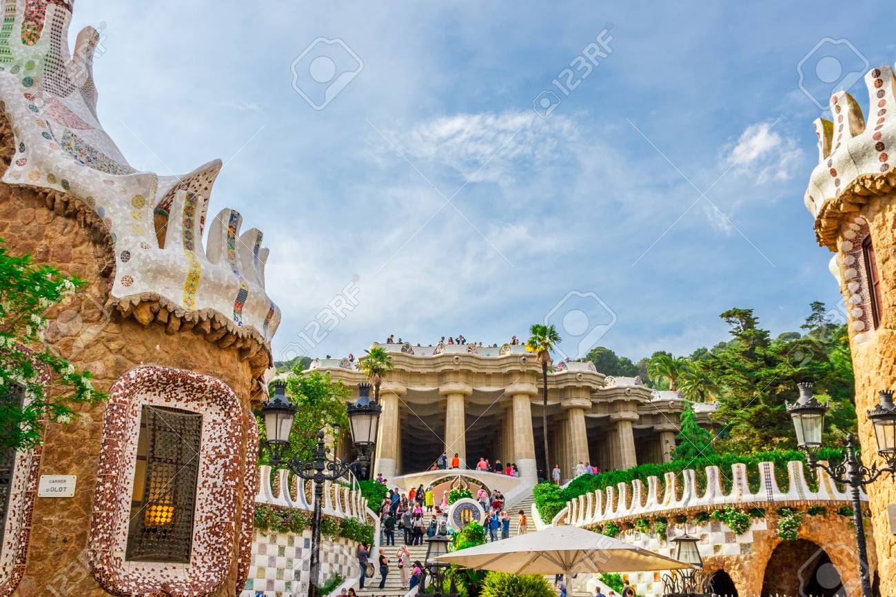 Barcelona Spain May 1 2015 Barcelona Attractions Park Guell