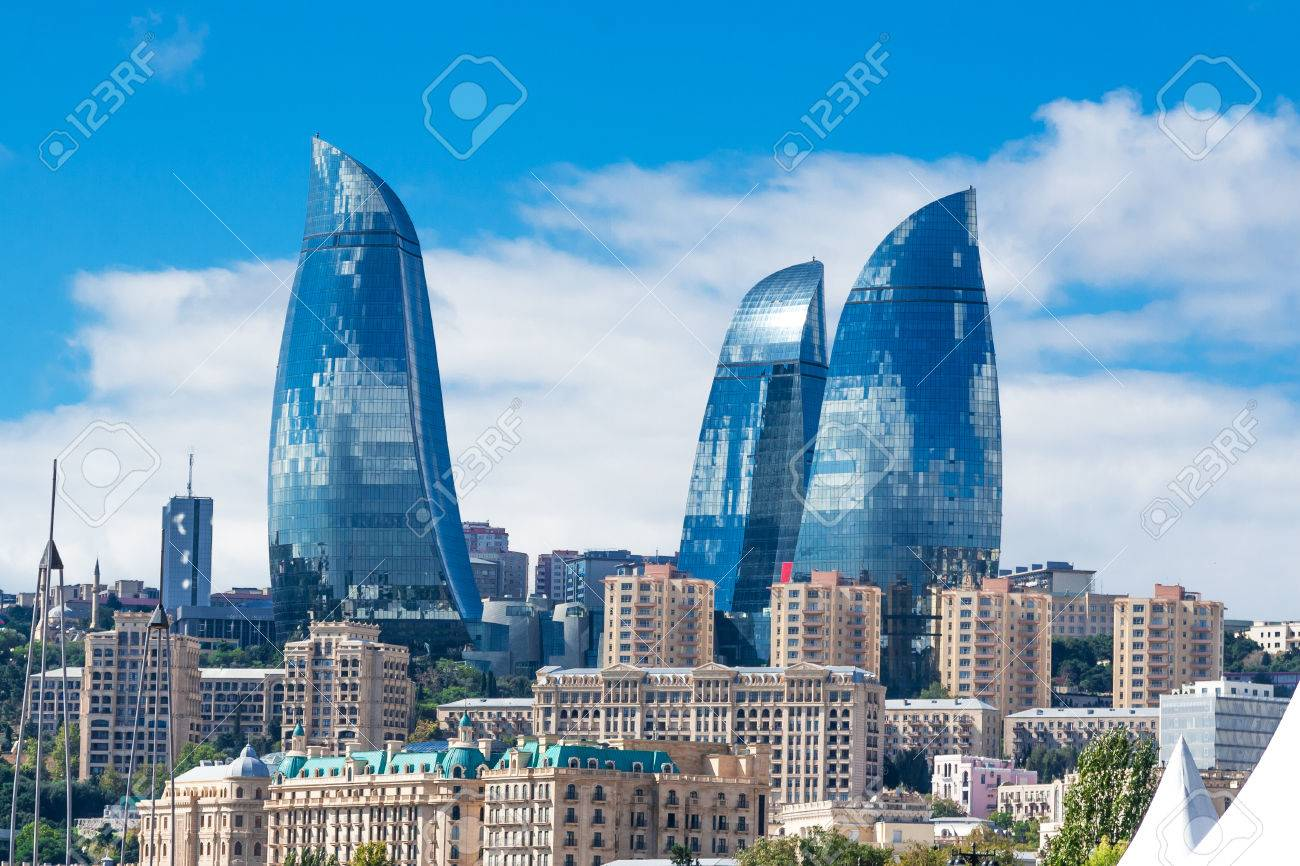 Baku, Azerbaijan - October 2, 2016: Flame towers in the cityscape. Panoramic view of Baku - the capital of Azerbaijan located by the Caspian See shore. - 72046060