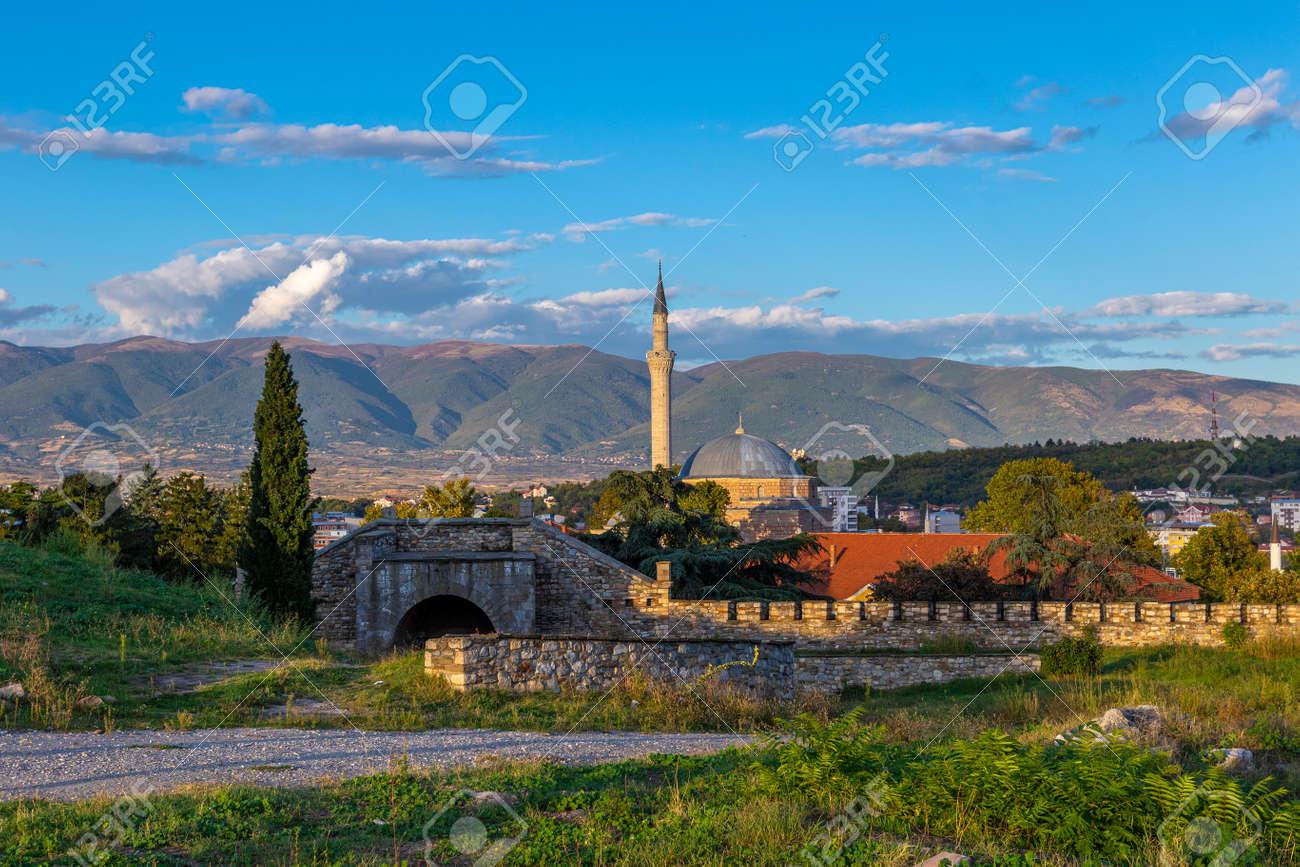 View of Mustafa Pasha's Mosque and mountain range from Skopje Fortress, Skopje, North Macedonia - 159036309