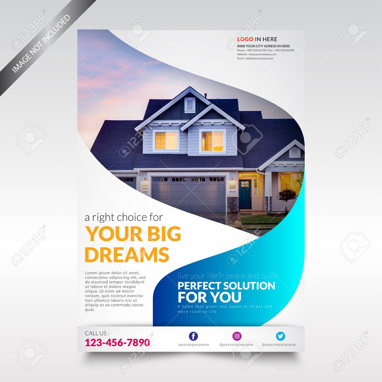 Real Estate Flyer Template Brochure With Shape Royalty Free