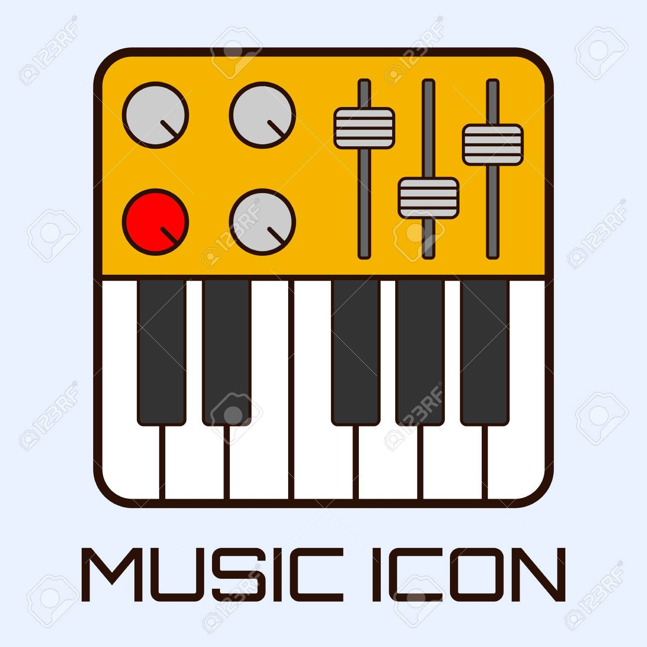 Flat Musical Icon Of Midi Keyboard Or Electric Piano Vector Graphics Stock