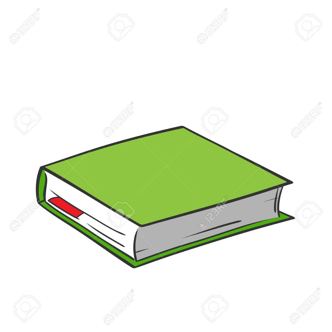 Libro Verde De Dibujos Animados Con Marcador Rojo Sobre Fondo Blanco
