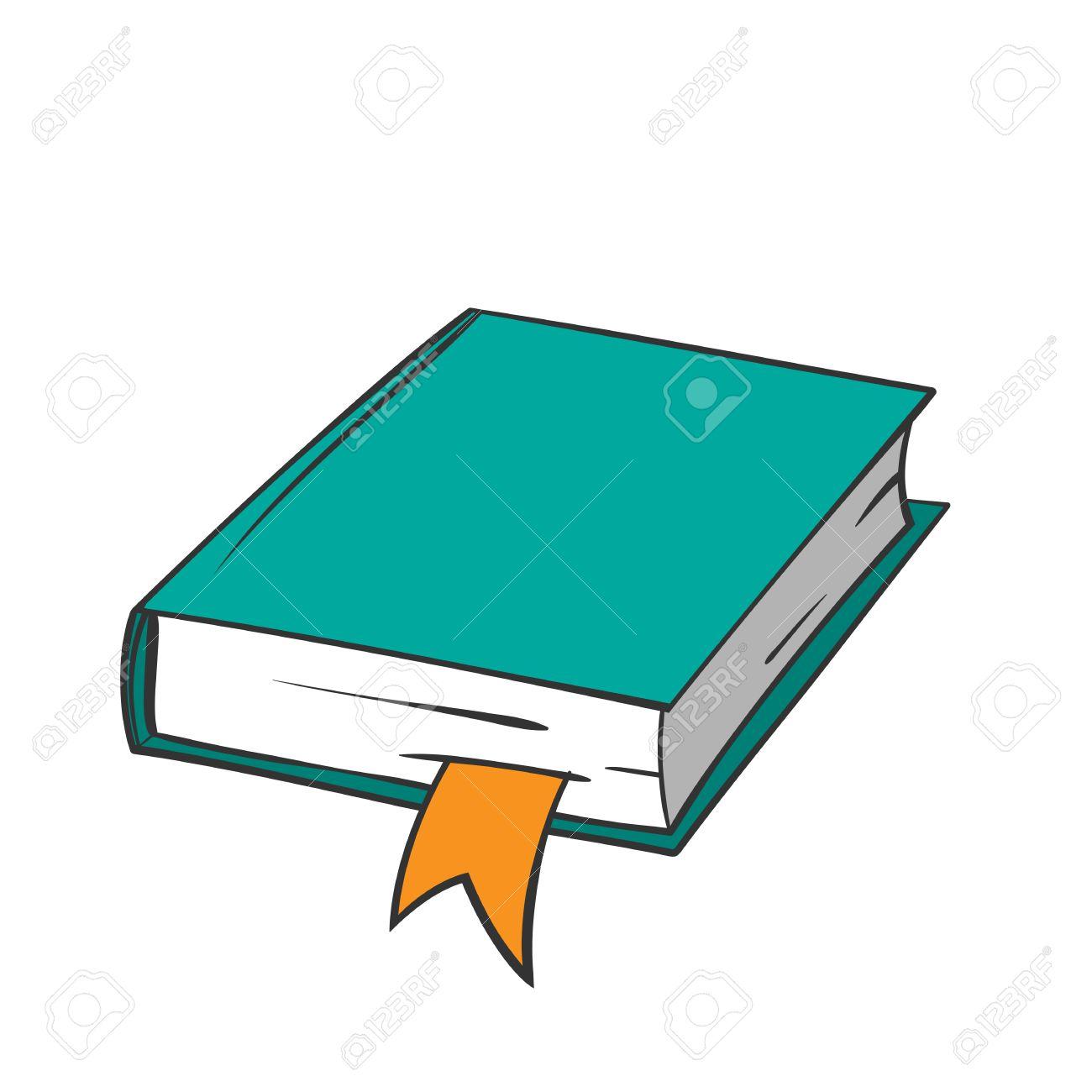 Libro Verde De Dibujos Animados Con Marcador De Color Naranja Sobre