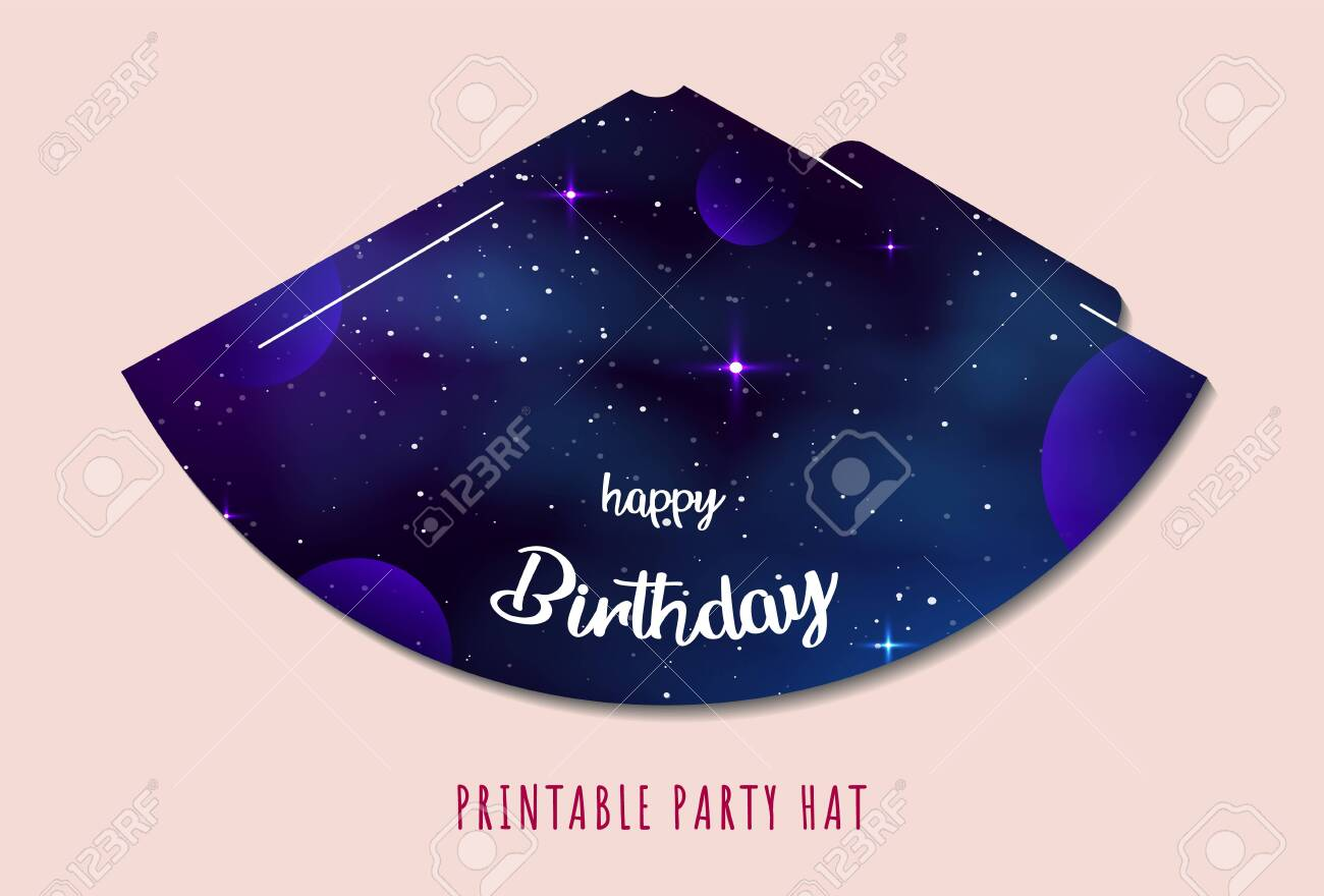 Party Hats Printable Space Explorer Print And Cut Happy Birthday Royalty Free Cliparts Vectors And Stock Illustration Image 147515095