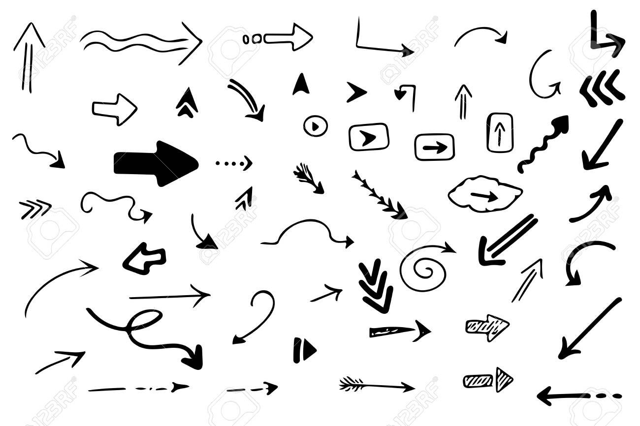 Pack of 56 hand drawn arrows. Vector set. - 111574712