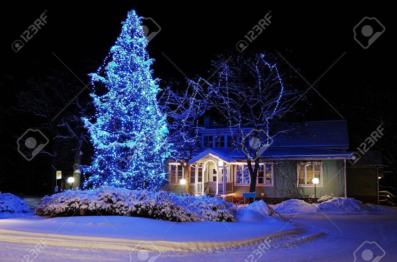 Turku, Finland - January 03, 2010: Marvelous Christmas Tree In ...