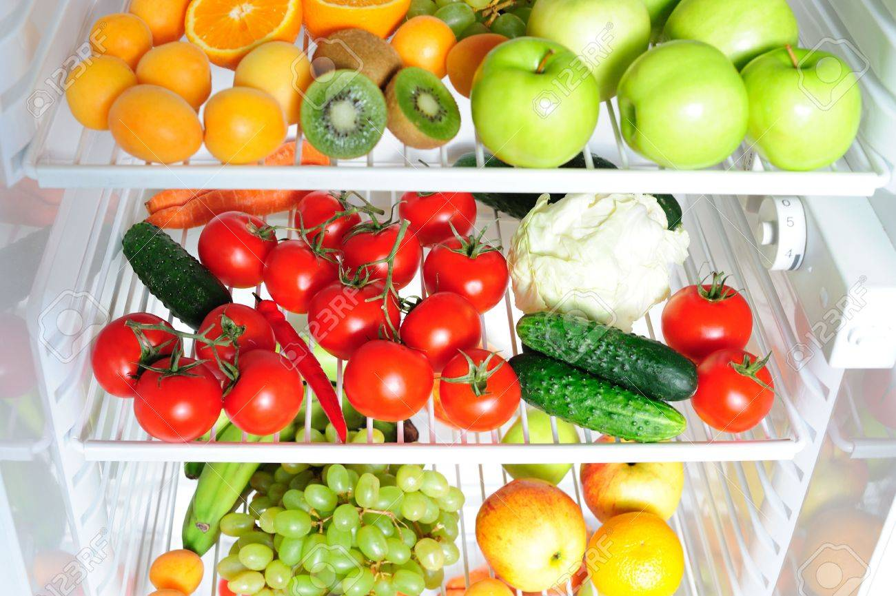 Fruit And Vegetables In The Fridge Stock Photo Picture And Royalty
