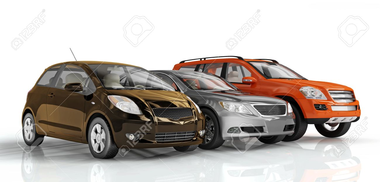 3D cars isolated on white background. Exellent material for web banners Stock Photo - 4418040