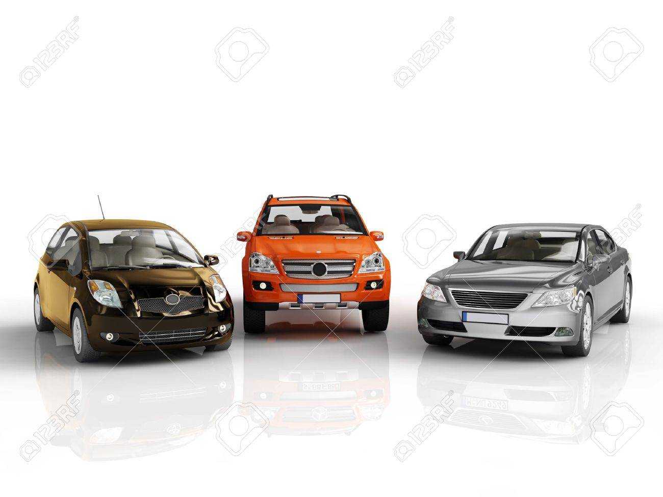 Three 3d Cars Rendered On White Background Stock Photo Picture And