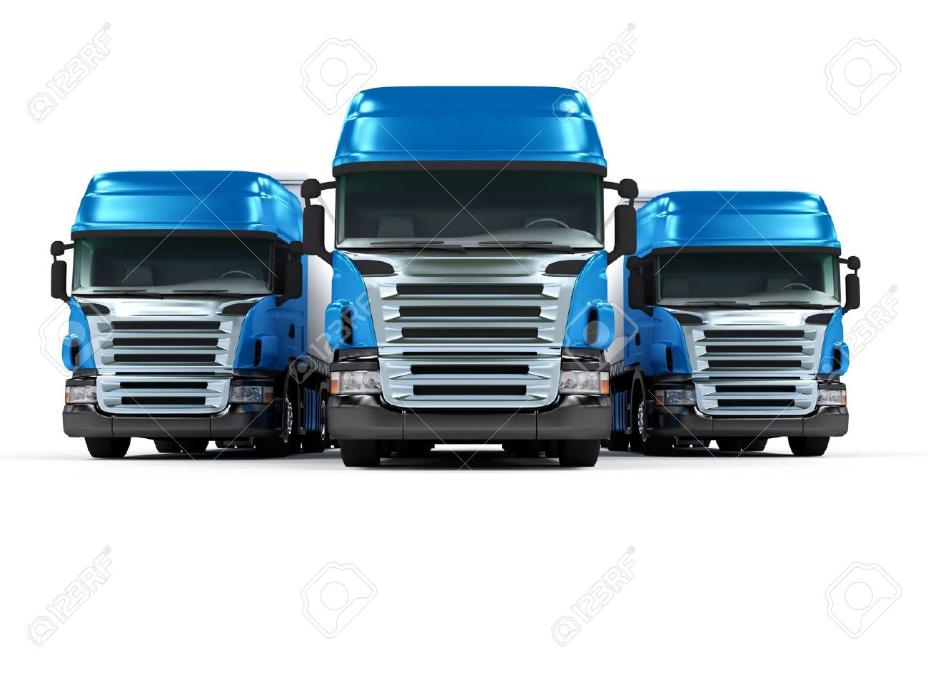 Some blue trucks isolated on white background Stock Photo - 8624865