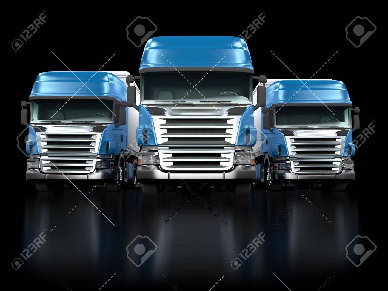Some blue trucks isolated on black background Stock Photo - 8624866