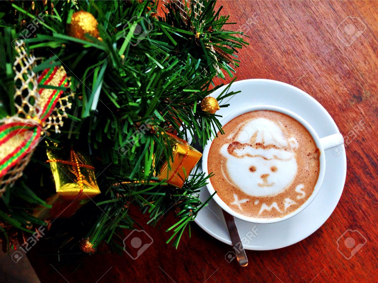 Coffee Christmas Tree.The Coffee Art With Christmas Tree On The Wooden Table