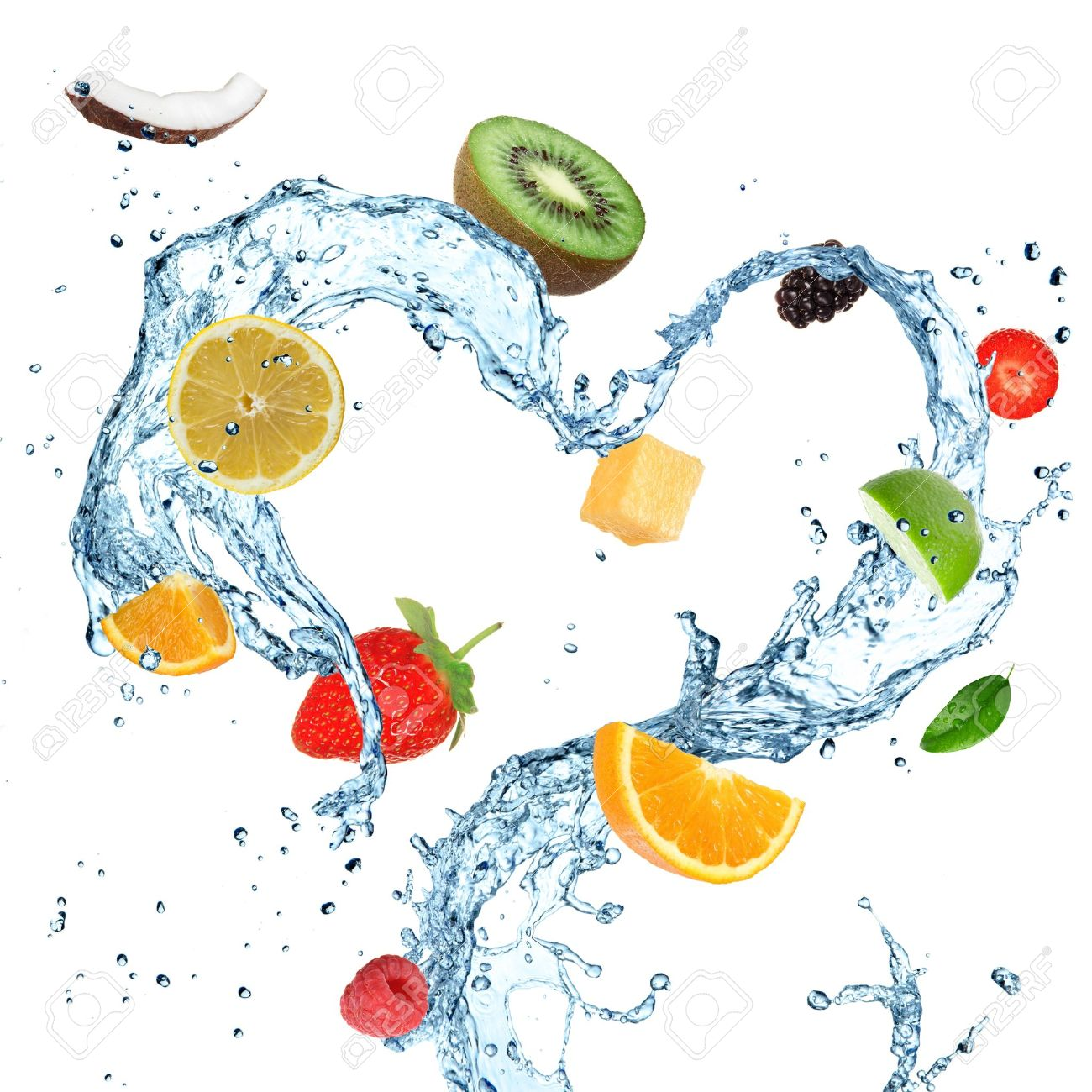 Fruit in water splash heart Stock Photo - 14730646