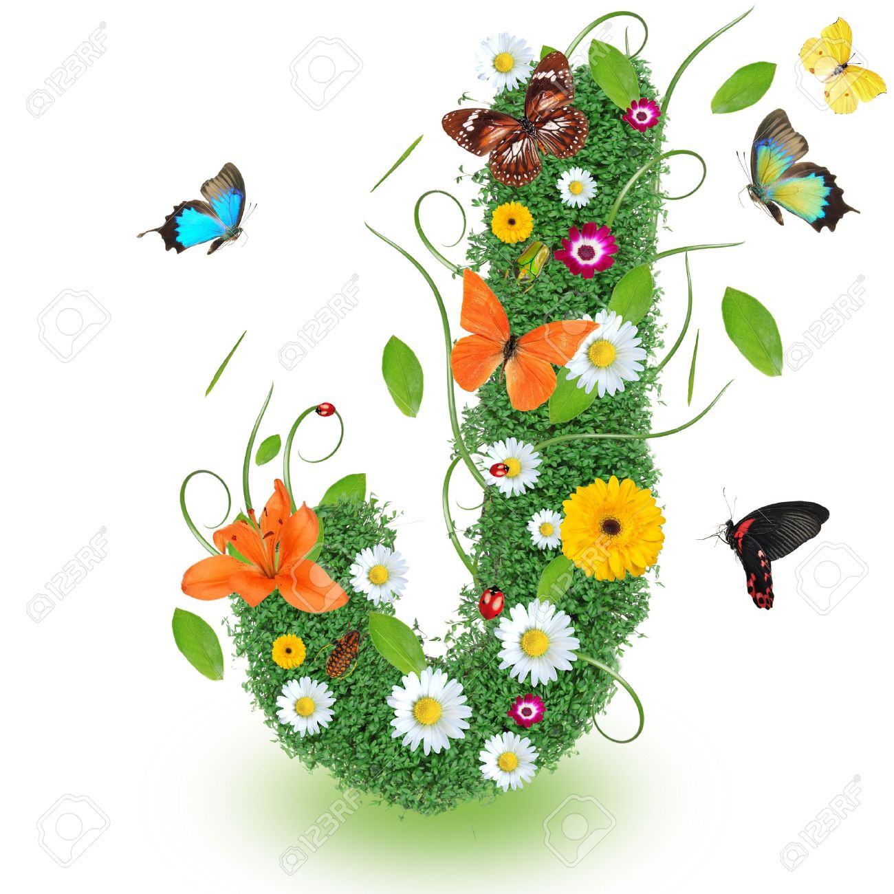 Beautiful Spring Letter J Stock Photo Picture And Royalty Free