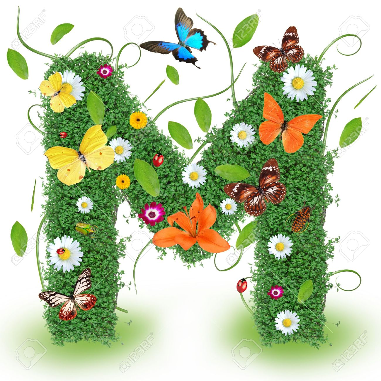 Beautiful Spring Letter M Stock Photo Picture And Royalty Free