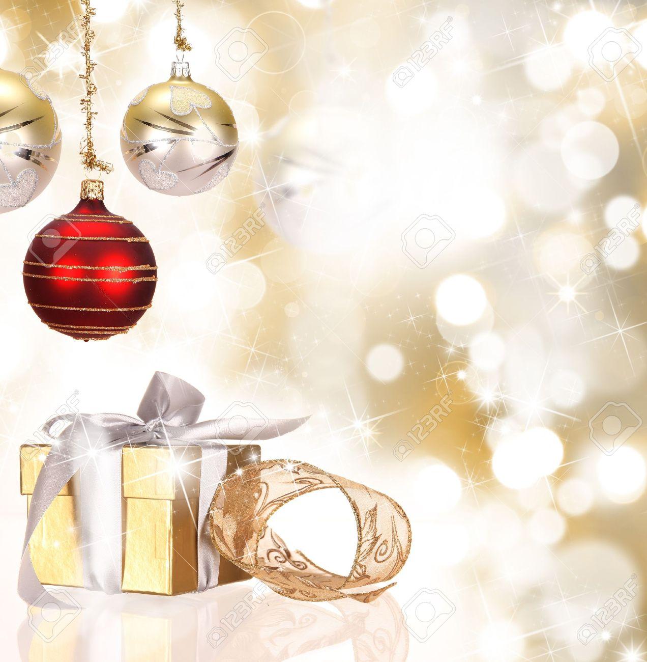 Christmas gift box with christmas balls Stock Photo - 15656382