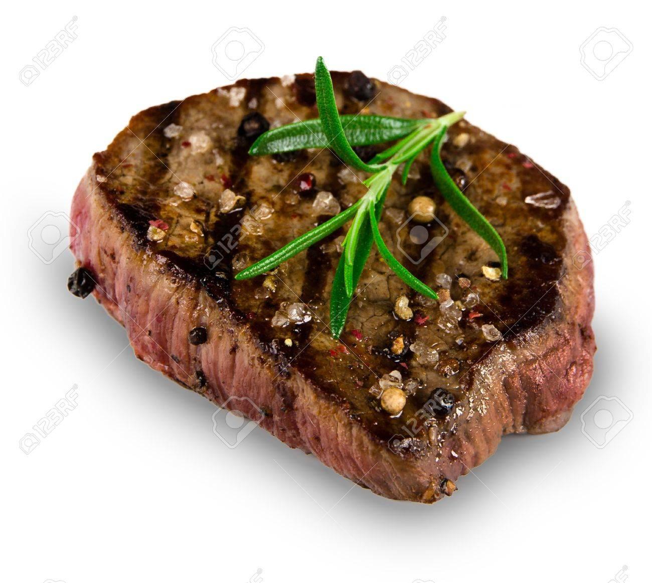 Grilled bbq steak on white background Stock Photo - 15764371