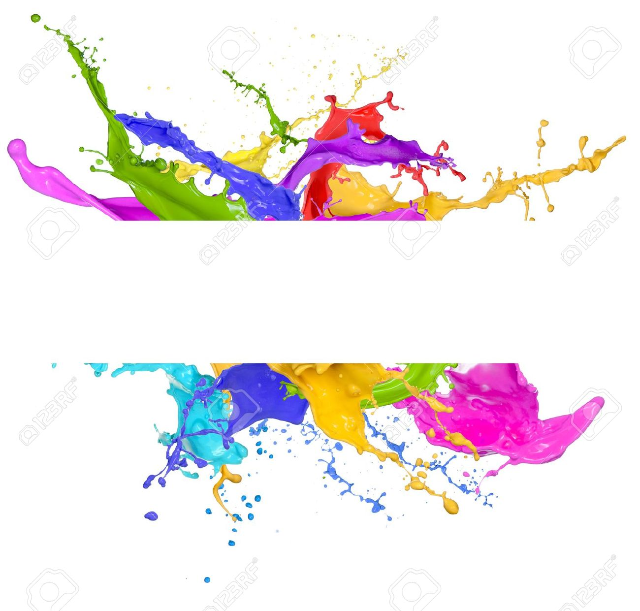 Colored splashes in abstract shape, isolated on white background Stock Photo - 18577172