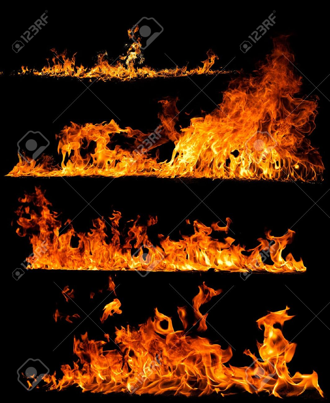 High resolution fire collection isolated on black background Stock Photo - 20736564