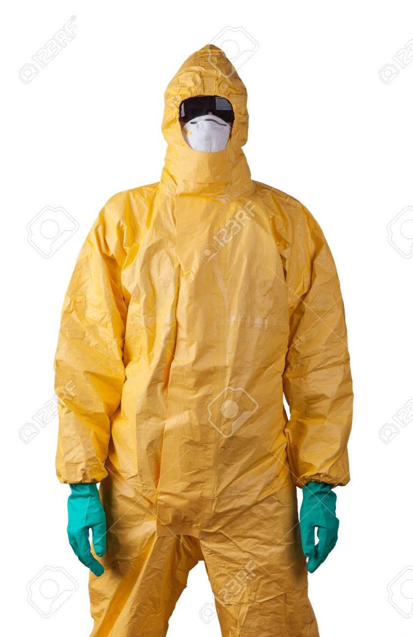 Scientist with protective yellow hazmat suit