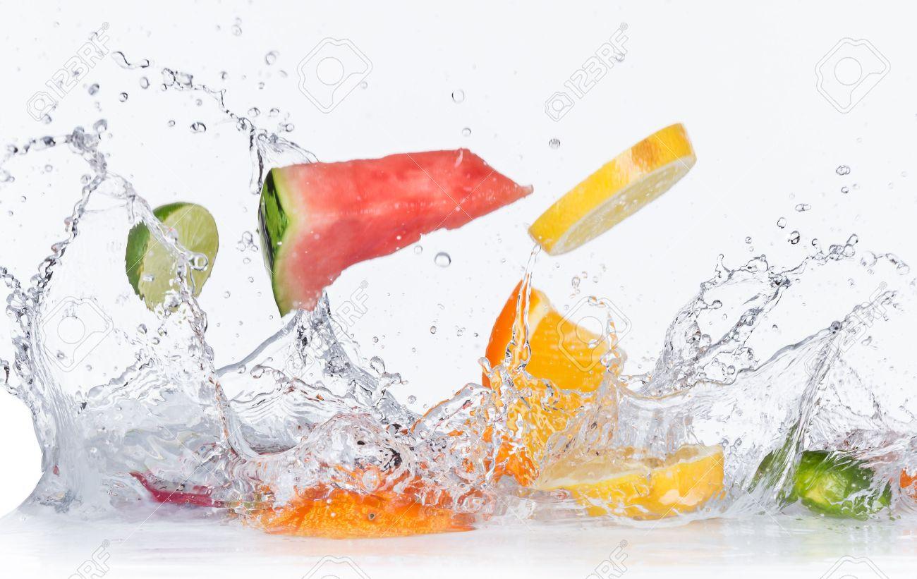 Fruit splash classic - Splash Fruits With Water Splashes Isolated On White Background