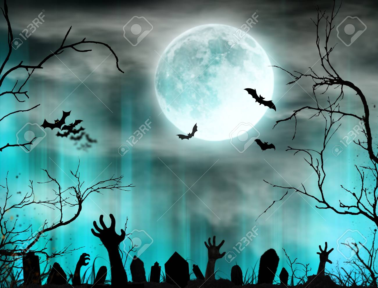 Halloween Spooky Pictures.Spooky Halloween Background With Zombie Hands