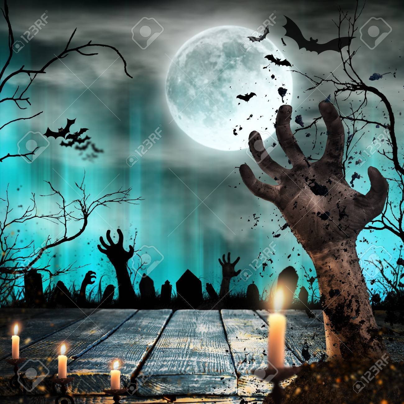 Scary Halloween Background With Zombie Hands Stock Photo Picture And Royalty Free Image Image 87418618