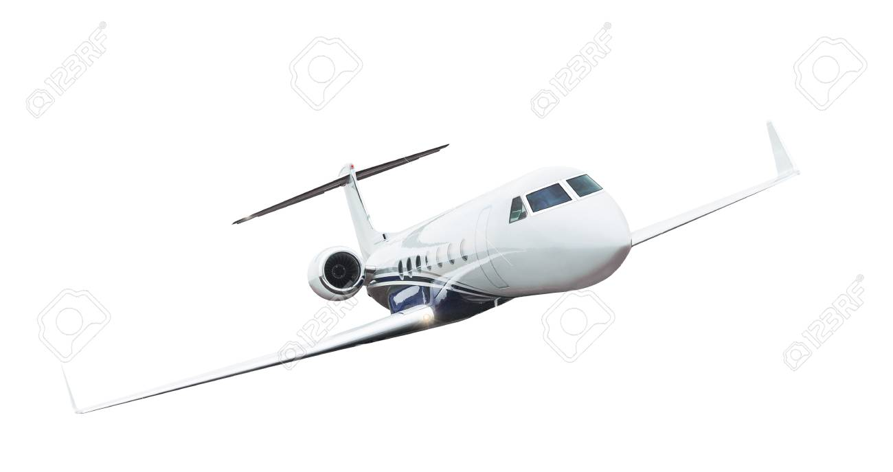 Commercial airplane isolated on white background. - 93651359