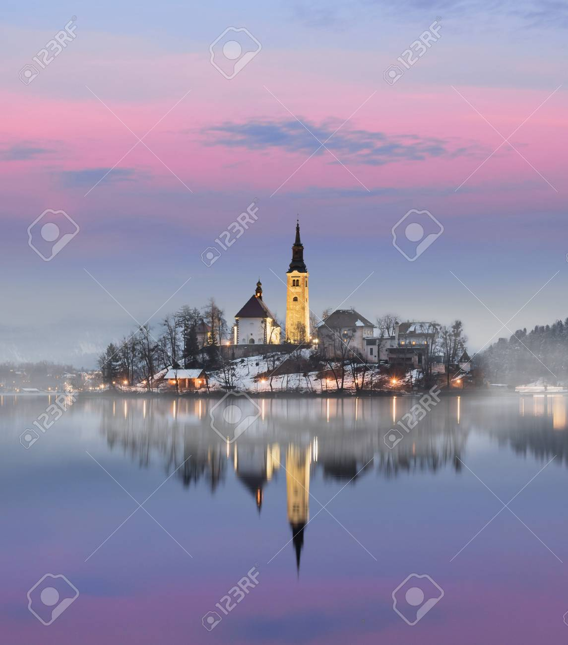 Amazing sunset at the lake Bled in winter, Slovenia. - 97130621