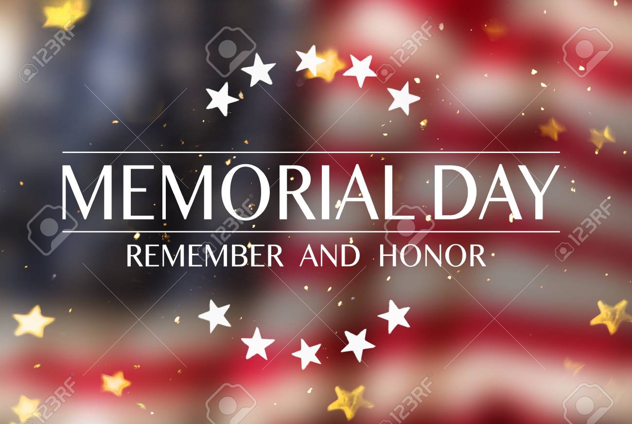 American flag with the text Memorial day. - 102435812