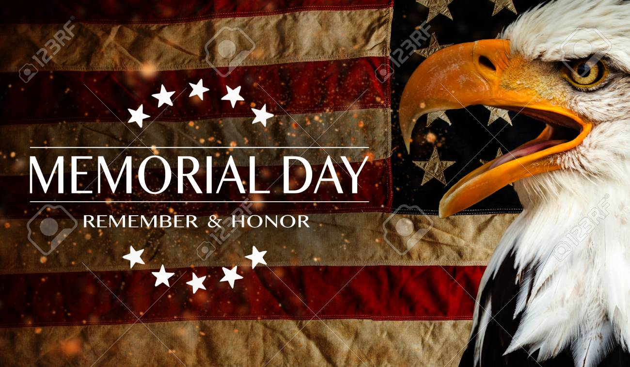 American flag with the text Memorial day. - 102435785