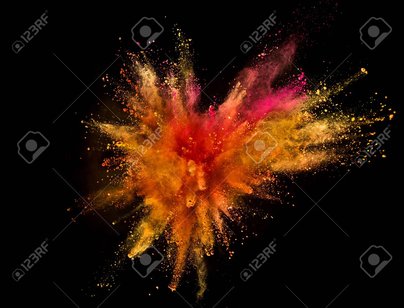 Colored powder explosion isolated on black background. Freeze motion. - 103234218