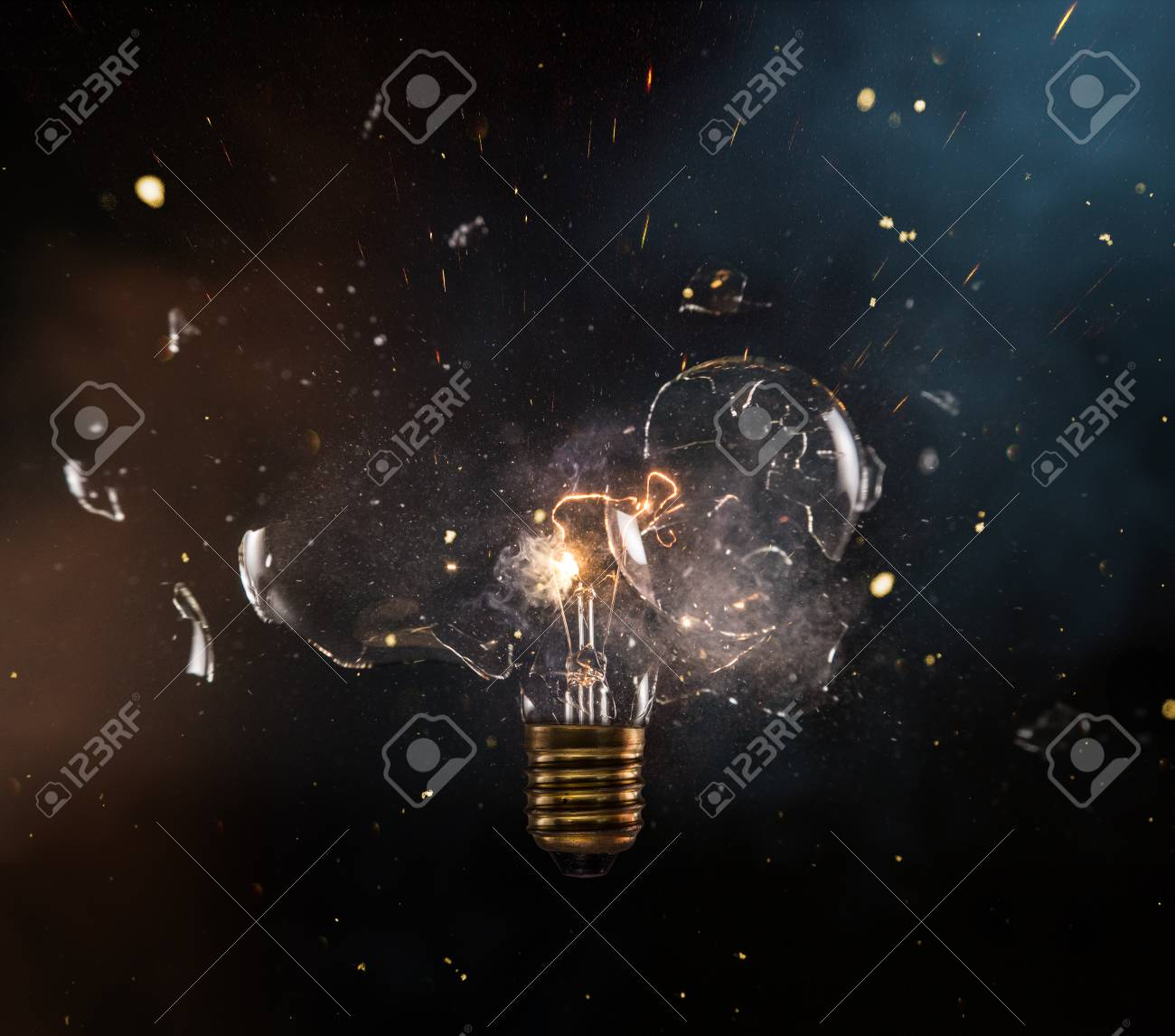 Real explosion of vintage electric bulb. - 108208379