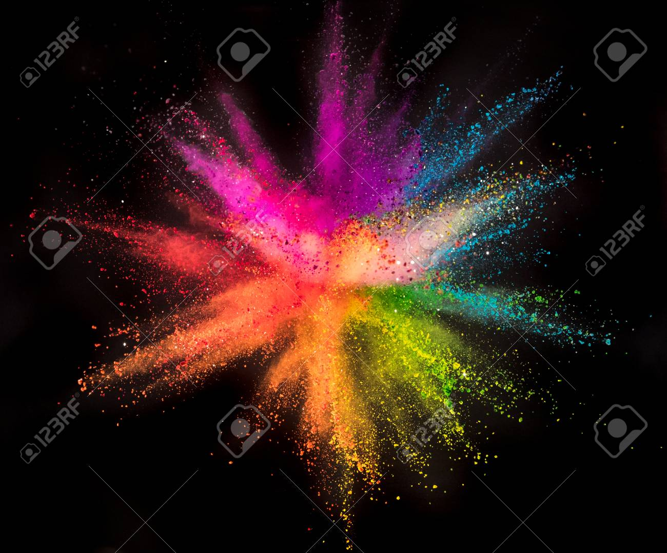 Colored powder explosion on black - 115303234