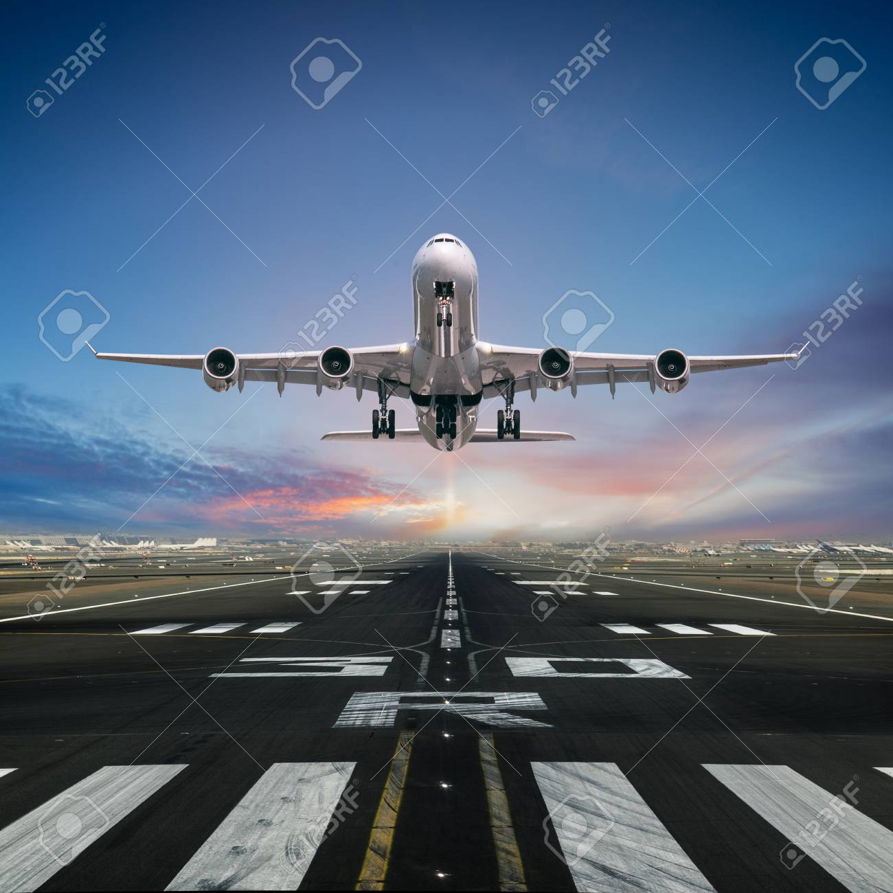 Airplane taking off from the airport. - 116469322