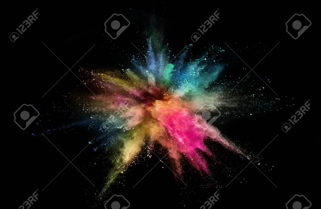 Colored powder explosion on black - 118546033