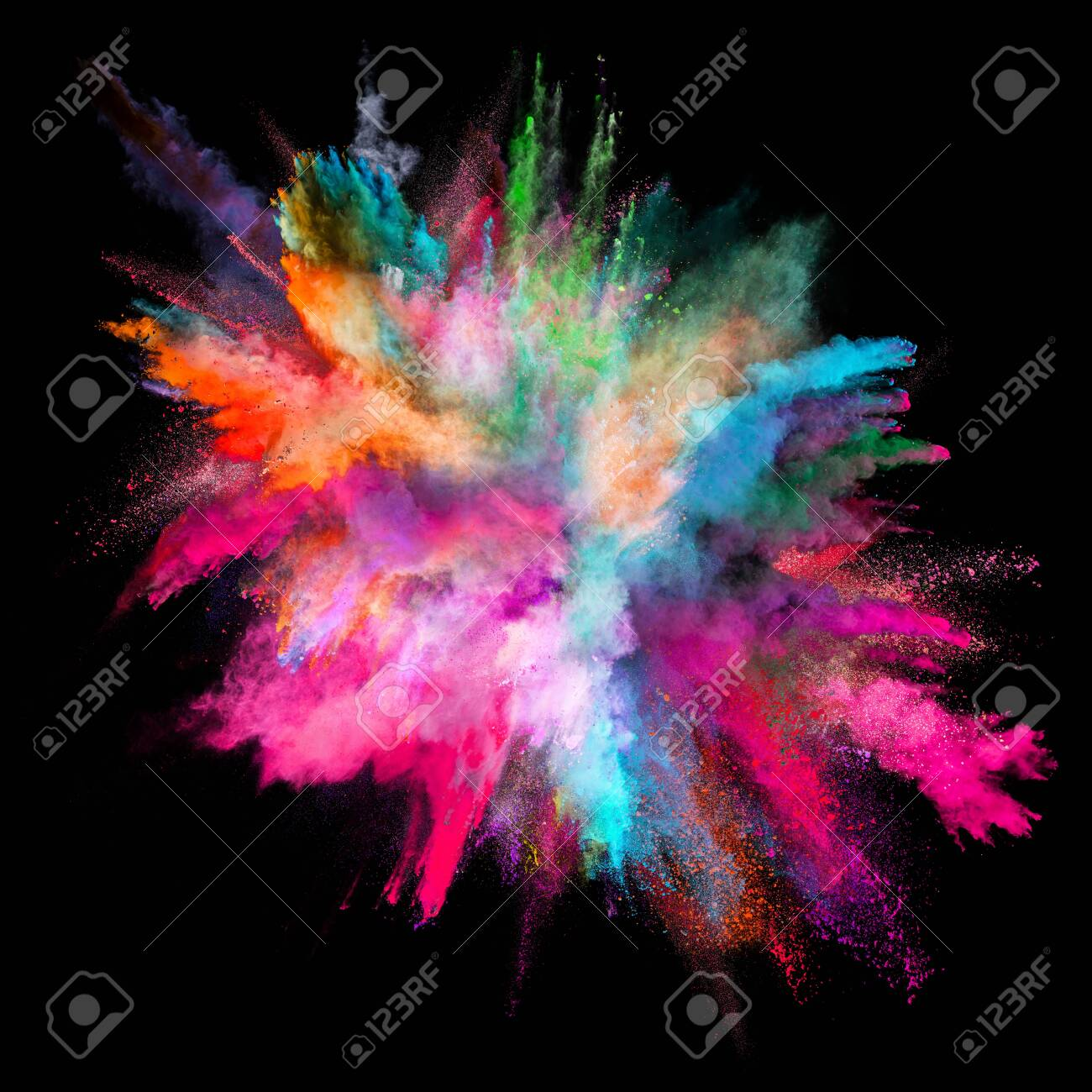 Colored powder explosion on black background. - 123488752