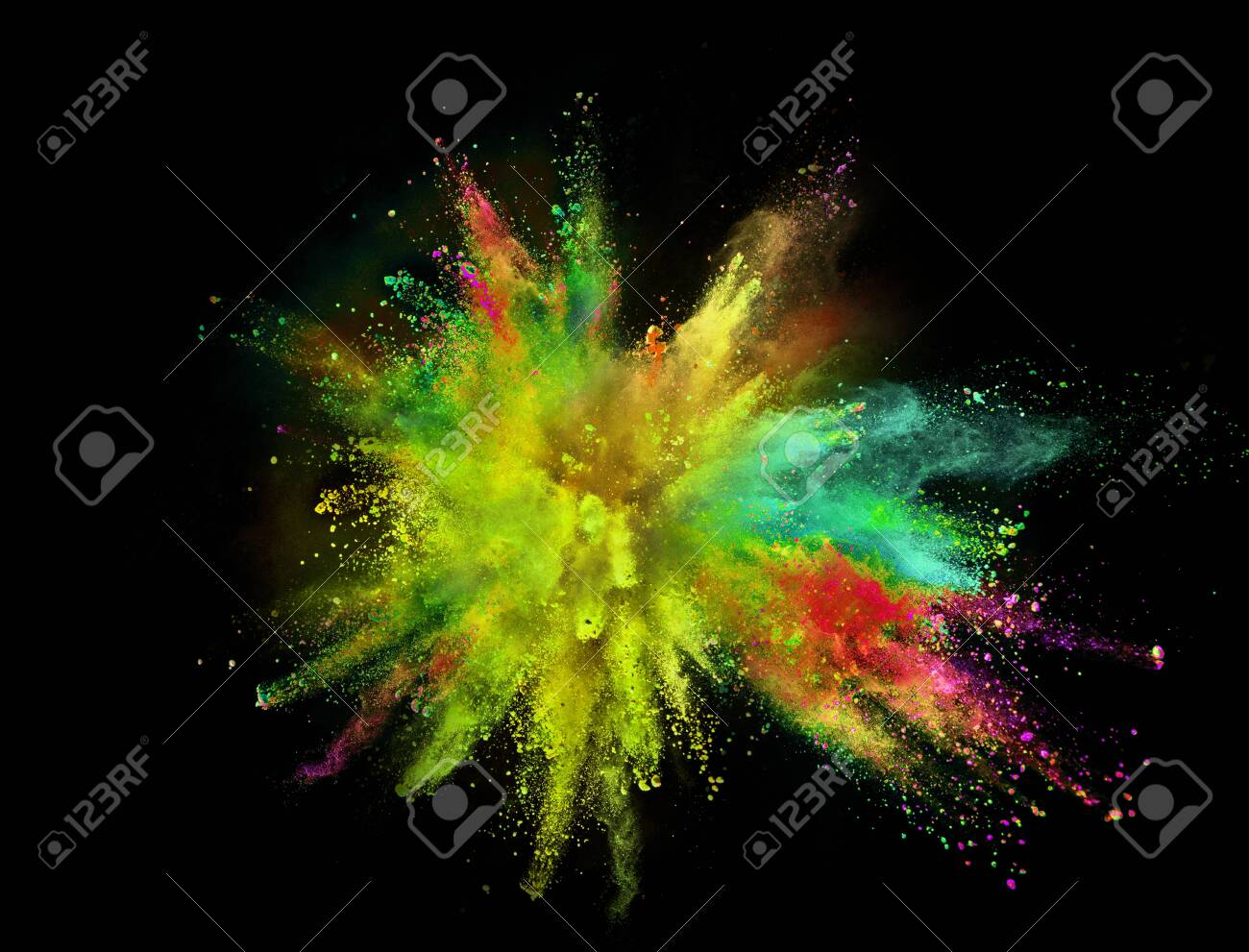 Colored powder explosion on black - 124302764