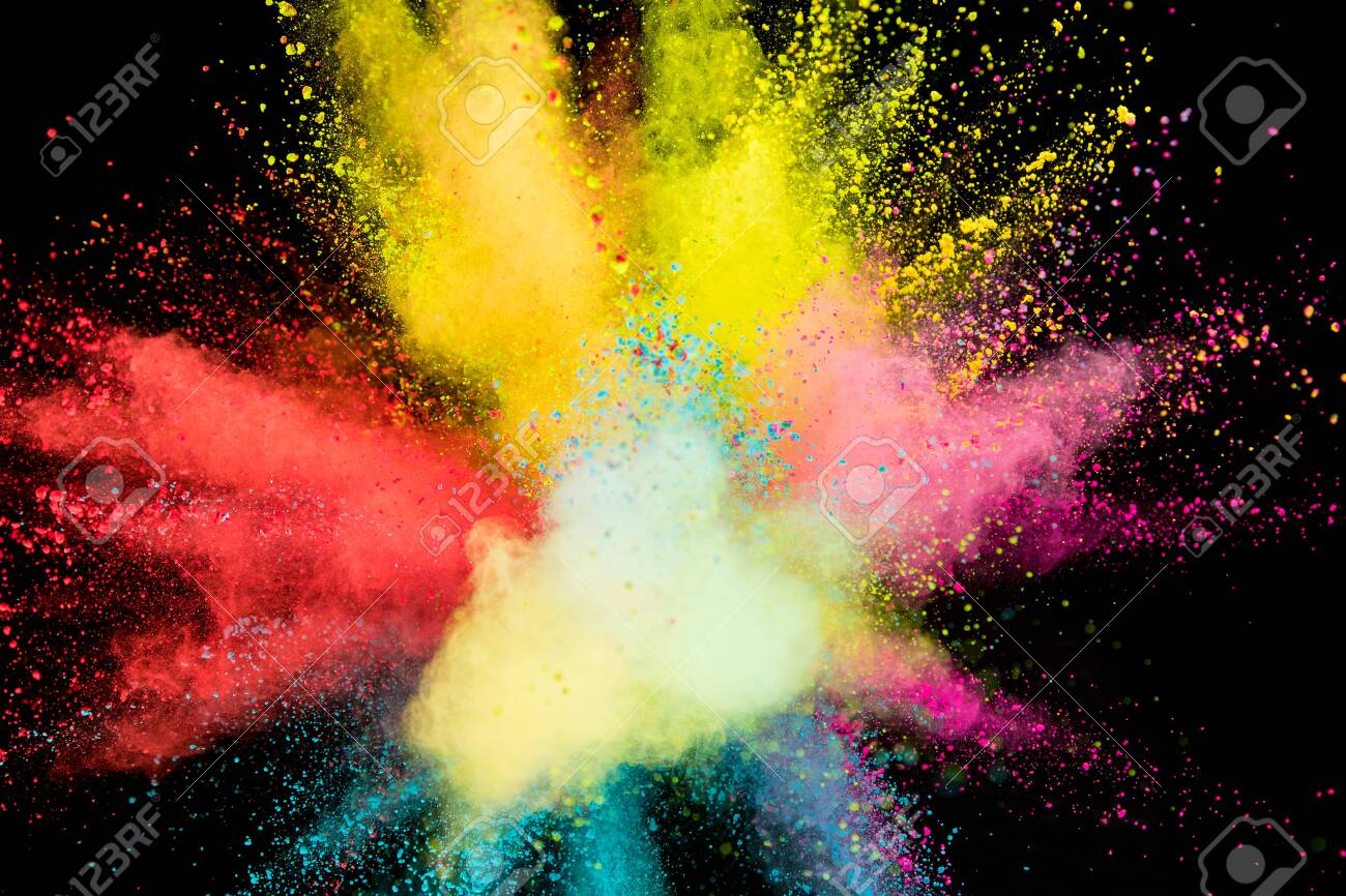 Colored powder explosion on black background. - 127038781