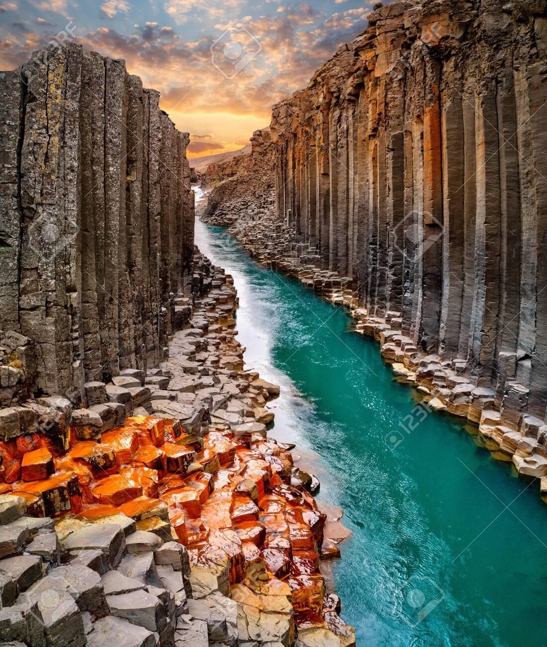 Breathtaking view of Studlagil basalt canyon, Iceland. - 127038898