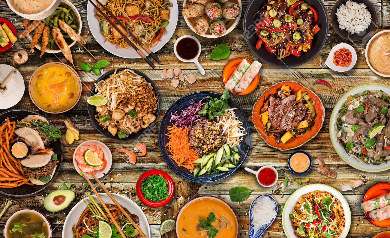 Asian food background with various ingredients on rustic wooden background , top view. - 144519148