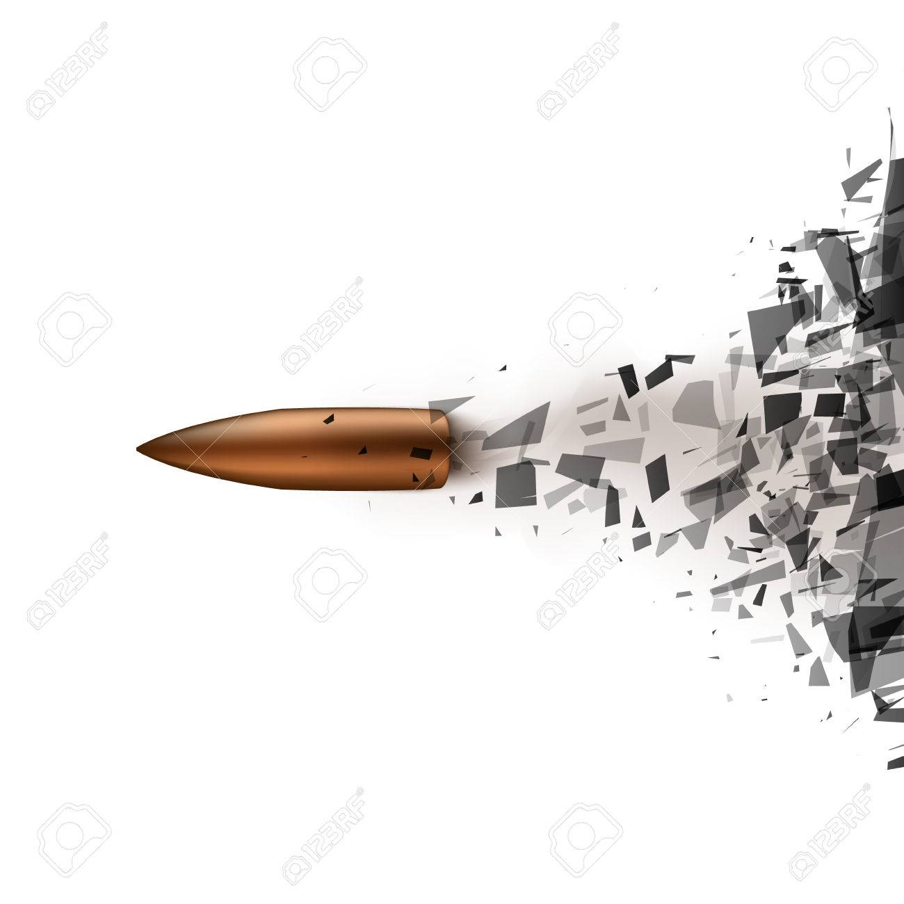 Bullet shot smashed the glass in the splinters illustration - 49020824