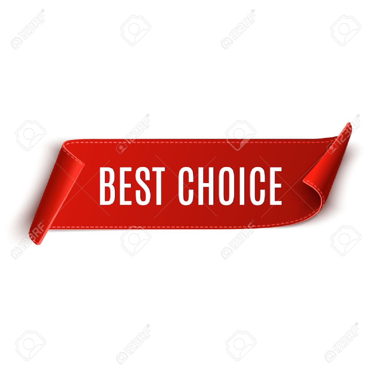 Best choice vector banner. Red curved paper banner isolated on white background. Ribbon - 51635711
