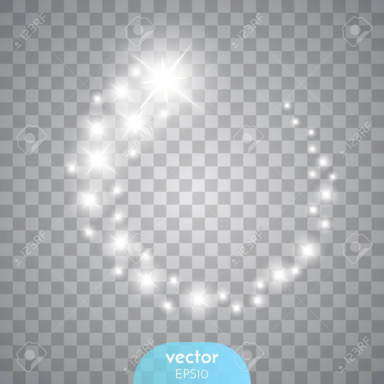 Vector glowing stars, lights and sparkles. - 52679263